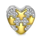 NINAQUEEN Charm Pandora Adattarsi Cuore Oro Idee Regalo Donna Argento 925 Zirconio Perline per la Madre Fidanzata Moglie