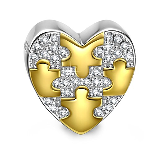 NINAQUEEN Charm fit Pandora Charms Heart Two Tone Women's Jewellery Best Gifts with Jewellery Box 925 Sterling Silver Antibacterial Properties