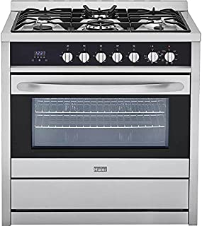 """Haier HCR6250AGS 36"""" Gas Range with 5 Sealed Burners 3.8 cu. ft. Oven Capacity Tripe Ring Burner Convection Broil Digital Clock and Cast Iron Grates in Stainless"""
