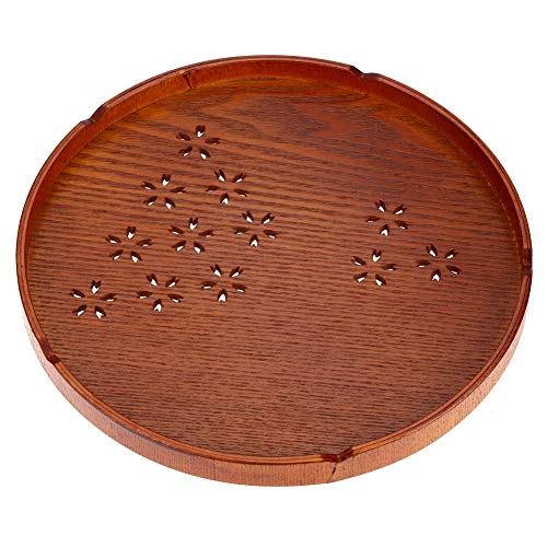 Samfox Tee-Tablett - Rundes Tablett aus Massivem Holz zum Servieren von Tee-Snacks