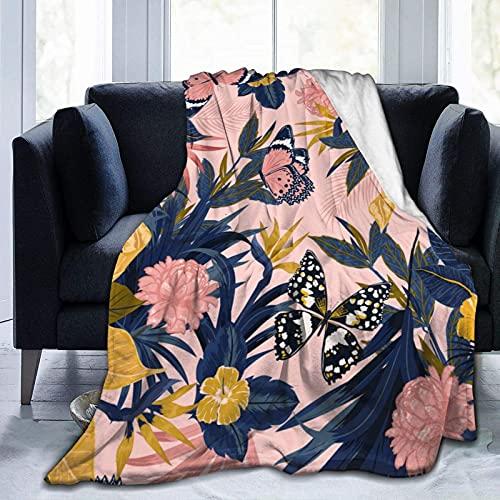 Manta de Felpa Suave Cama Moda Floral Hermosa Mariposa Manta Gruesa y Esponjosa Microfibra, Suave, Caliente, Transpirable para Hogar Sofá , Oficina, Viaje