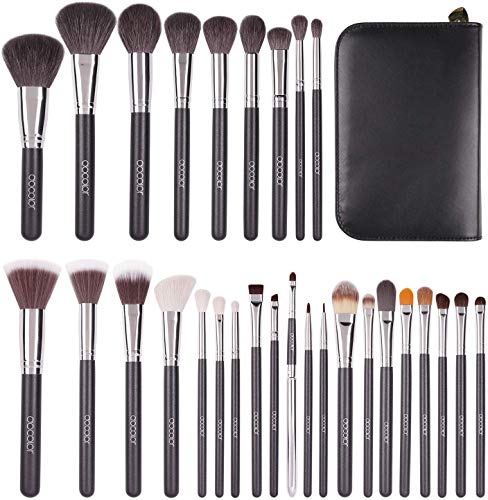 Set di pennelli per trucco professionale Docolor 29Pcs Sable Goat Pony Hair Powder Eyeshadow Foundation Brush Kit di cosmetici con custodia in pelle, buon regalo per gli amanti del trucco