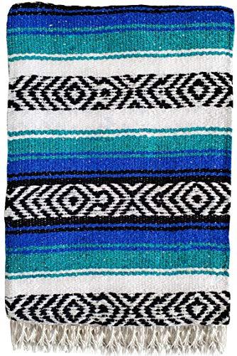 Genuine Mexican Handwoven Blanket, Premium Large Heavyweight Falsa Blanket, Serape & Yoga Blanket   Beach Blanket   Throw Blanket   Picnic Blanket (Large Heavy, Teal and Blue)