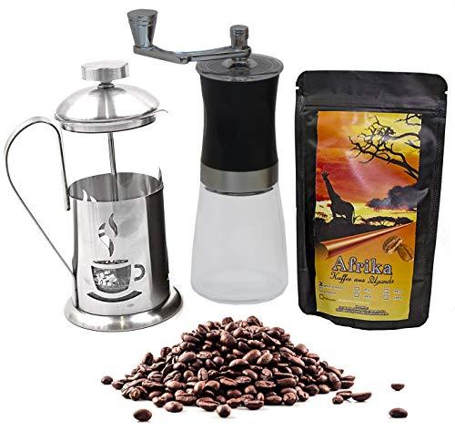 Kaffee Geschenk-Set Afrika 250 g Länderkaffee aus Uganda Ganze Bohnen, Glas-Keramik-Kaffeemühle und Stempelkanne 350 ml