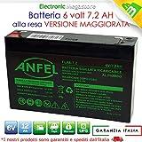 Batteria Ermetica AGM al piombo 6V 7Ah 7,2Ah per Peg Perego, Bruder, Feber, ToysToys, Injusa