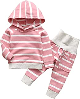 Newborn Baby Girl Clothes Pink Long Sleeve Hoodie Elastic Striped Pants Cotton Toddler Infant Outfits Sets