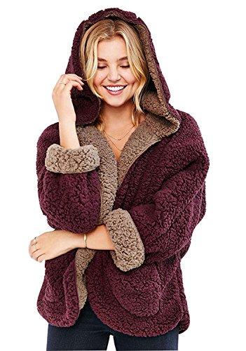 Choies Women's Faux Fur Hooded Coat Winter Lovely Double-Side Faux Lamb FurCardigan,Burgundy,Large