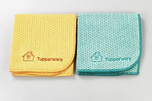 Tupperware FaserPro Multi orange T21 + Multi türkis Mikrofasertuch abgerundet
