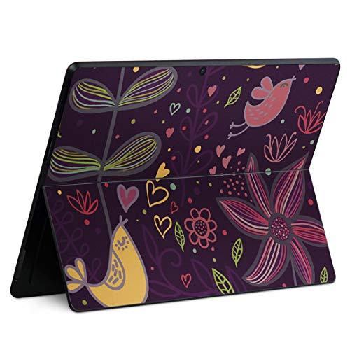 igsticker Surface Pro X 専用スキンシール サーフェス プロ エックス ノートブック ノートパソコン カバー ケース フィルム ステッカー アクセサリー 保護 000374 フラワー 花 イラスト かわいい