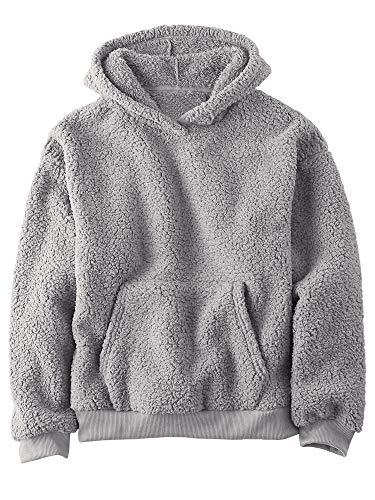 Gemijacka Pullover Kinder Kapuzenpullover Unisex Teddy-Fleece Sweatshirt mit Kapuze Jungen Mädchen Plüsch Winter Hoodie Grau 140 cm