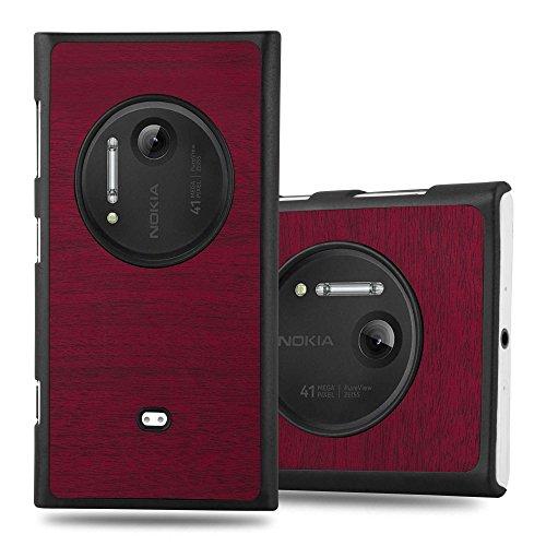 Cadorabo Custodia per Nokia Lumia 1020 in Woody Rosso - Rigida Cover Protettiva Sottile con Bordo Protezione - Back Hard Case Ultra Slim Bumper Antiurto Guscio Plastica