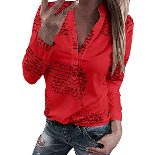 BOLAWOO Camicetta Camicia Autunno Bottone a Stella Donna Cinque Punte Mode di Marca Trapano Caldo Top Top Manica Lunga 3 4 Maniche O Collo Felpa Camicia Allentata Manica Lunga Camicia