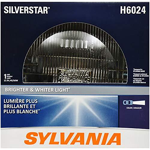 "SYLVANIA H6024 SilverStar High Performance Halogen Sealed Beam Headlight (7"" Round) PAR56, (Contains 1 Bulb), White (H6024ST.BX)"