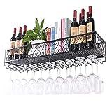 European Style Wall Shelf Metal Iron Ceiling Rack Storage Wine Racks Hanging Wine Bottle And Glasses Holder Frame Wine Stemware Holder Goblets Rack - Black (Size : L30W25cm)
