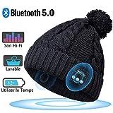 EVERSEE Bonnet Bluetooth Femmes, Cadeaux de Noël, Bonnet pour Casque sans Fil, Cadeaux pour Femmes, Bonnet avec Haut-parleurs Bluetooth 5.0, Bobble Hat avec Casque Intégré, Cadeaux pour Adolescent