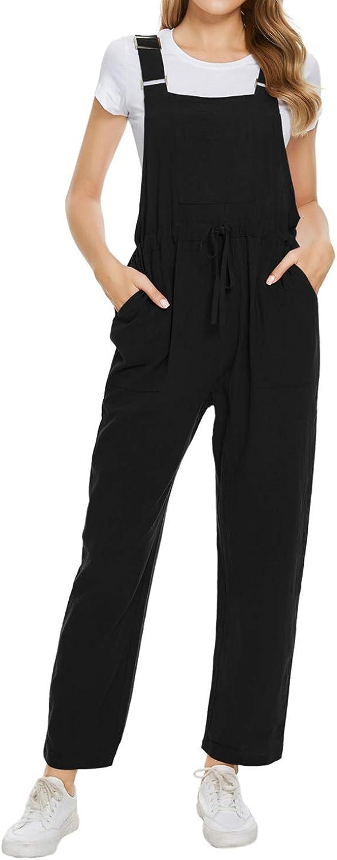 New color TOP-VIGOR New sales Women's Casual Baggy Overalls Romper Wide Cotton Linen