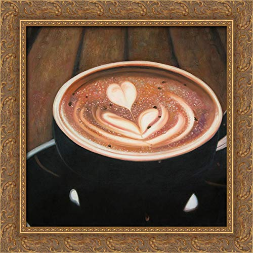 Atelier B Art Studio 20x20 Gold Ornate Framed Canvas Art Print Titled: Artistic Cappuccino