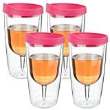 Southern Homewares Wine Tumbler 10oz Insulated Vino Double Wall Acrylic With Pink Drink Through Lid Wine 2Go Set of 4