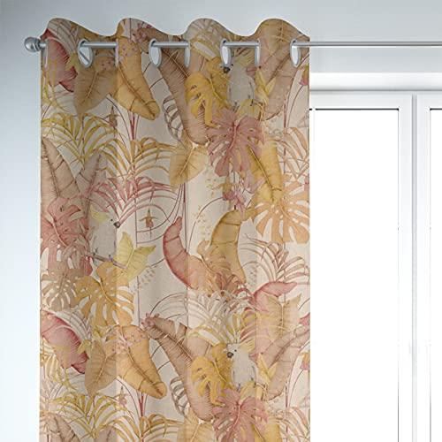 SCHÖNER LEBEN. Cortina con aspecto de lino Royal Cockatoo con hojas de palmera, cacatúas natural, amarillo y rosa, 245 cm o longitud deseada, para colgar cortinas, con ojales.