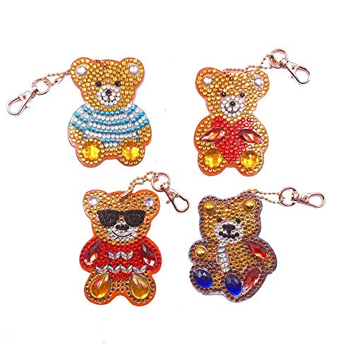 4pcs DIY Diamond Painting Keychains Full Drill Special Shaped Diamond Painting Bear Keychain Pendants