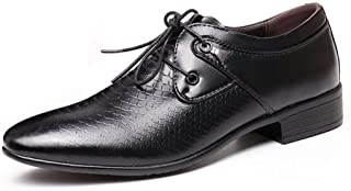 Bin Zhang Retro Oxford for Men Embossed Dress Shoes Lace up Faux Leather Pointed Toe Burnished Style Metal Decor 3cm Block Heel Texture (Color : Black, Size : 8.5 UK)
