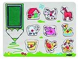 Woodyland 'Animales Granja Sellos Set (10 Piezas)