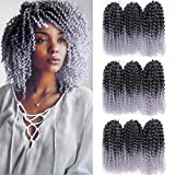 Pack of 9 Marlybob Crochet Braids Hair Ombre Afro Kinky Curly Braiding Hair Extensions 8Inch Small Synthetic Braiding Hair for Women (1B/Gray#)