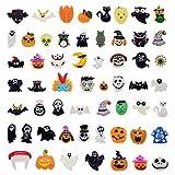 50pcs Resin Slime Charm Flatback Halloween Craft Embellishment Wizard Pumpkin Lantern Ghost Spider Skull for DIY Craft Making