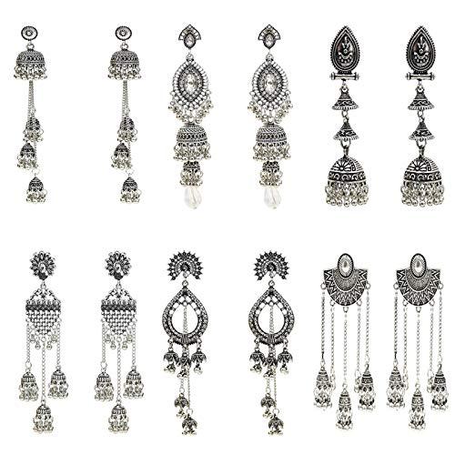 6 Pairs/Set Indian Jhumka Jhumki Ethnic Dangle Earring Sets for Women Vintage Silver Long Tassel Bell Drop Earrings Boho Jewelry (ES-8794-6)