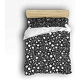 N/A 3-teiliges Bettwäscheset, Schwarze und weiße Gepunktete Bettdecke für Kinder/Kinder/Jugendliche/Erwachsene, Queen-Size