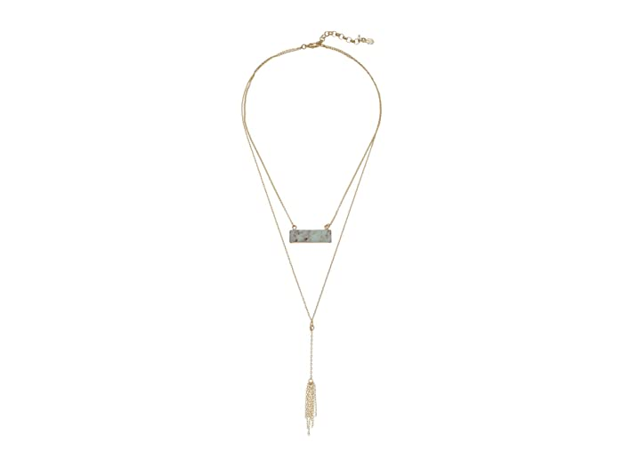 Lucky Brand  Simple Set Stone Seafoam Bar Necklace (Gold) Necklace