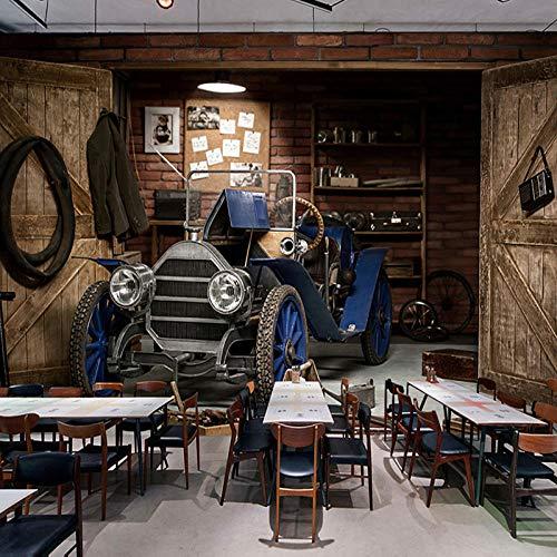Papel tapiz fotográfico personalizado 3d coche retro estilo nostálgico restaurante café tienda de té con leche fondo art deco pintura de pared mural papel tapiz 3d-450X300cm