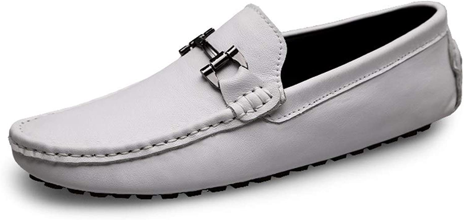 Easy Go Shopping Driving Loafer For Men Boat Moccasins Slip On OX Leather British Style Metaldecor Cricket shoes (color   White, Size   9.5 UK)