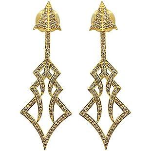 Wholesale 1.46ct Diamond Pave ARROW Design Stud Earrings 18 K Yellow Gold Handmade Jewelry:Deepld