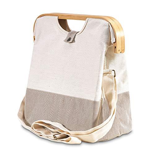 achilles Urban-Shopper Bolsa de compras con asa de madera Bolsa de transporte con correa para el hombro Bolsa de algodón ecológica Bolsa de hombro, cesta de la compra, cesta plegable 35x18x35 cm