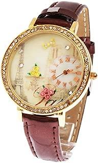 Yhuisen Fashion 3D Rose Decoration Privileged Dial Plate Quartz Parallel Wrist Watch