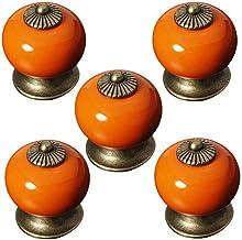 5st Mode Ronde Keramische Keukenkast Kast Lade Deurknoppen Handgrepen (Wit), oranje
