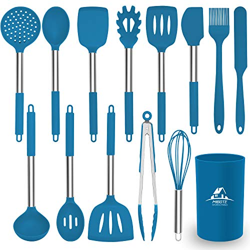 Mibote 15 Pcs Silicone Kitchen Utensils Set, Cooking Utensils Set with Heat Resistant BPA-Free Silicone and Stainless Steel Handle Kitchen Tools Set (Blue)