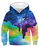 AIDEAONE Kids Galaxy Rainbow Hoodies 3D Realistic Colorful Pullover Hooded Sweatshirt Activewear with Pocket for 12-13Y Teen Boys