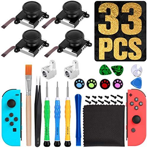 [nueva versión] 4 unidades 3D de repuesto para joystick analógico izquierdo/derecho del pulgar para Nintendo Switch Joycon, incluye juego de herramientas de reparación completo...