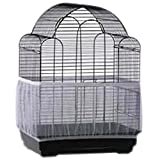 pranovo Bird Cage Seed Catcher Seeds Guard Parrot Nylon Mesh Net Cover Stretchy Shell Skirt Traps Cage Basket Soft Airy (White)