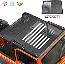 TOAPCAYR TJ Mesh Bikini Top Sunshade UV Protection Soft Top for 1997-2006 Jeep Wrangler TJ and 1987-1999 YJ in Black & White US Flag