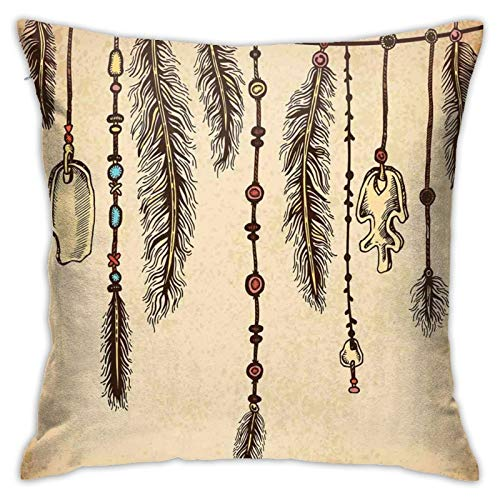 DHNKW Throw Pillow Case Cushion Cover,Bohemian Ethnic Hair Accessories with Bird Feathers Beads On String Sketch Digital Print ,18x18 Inches