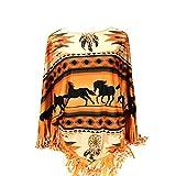 Montana West Aztec Horse Print Poncho For Women Western Cowgirl Fringe Tassel Hem Shawl Cape