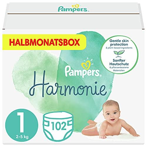 Pampers Baby Windeln Größe 1 (2-5 kg) Harmonie, 102 Stück, HALBMONATSBOX, Sanfter Hautschutz Und Pflanzenbasierte Inhaltsstoffe