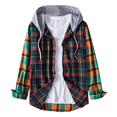 Tops for Men Colorful Print Drawstring Long Sleeve Single Breasted Hooded Jacket Coat Autumn Casual Fashion Blouse Tee (05 Blue, XXL)
