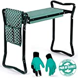 Garden Kneeler and Seat - Protects Your Knees, Clothes from Dirt & Grass Stains - Foldable Stool for Ease of Storage - EVA Foam Pad, Sturdy and Lightweight, Bench Comes with A Free Tool Pouch