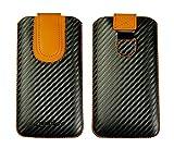 Emartbuy Dark Grey/Orange Premium PU Leather Carbon Fibre