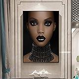 SADHAF African girl wall art maquillaje girl lienzo mural poster e imprimir Art Design decoración de la pared A1 30x40cm