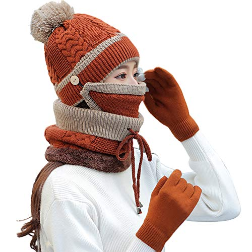 4PCS Winter Beanie Hat Scarf Gloves Face Cover Mask Set for Womens Knit Hats Pompom Skull Caps Gloves Face Mask Neck Scarf Snood Tube Neck Warmer Neck Gaiter Set for Girls Ladies Xmas Gifts Brown